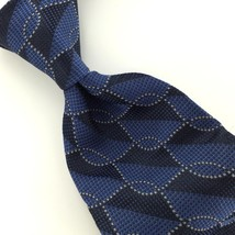VAN HEUSEN BLACK BLUE MICRO GEOMETRIC Square Rope Link Neck Tie H1-3 Exc... - $15.83