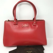 New Kate Spade Sydney Large Double-Zip Satchel Red Tote Leather Polka Do... - $216.34 CAD