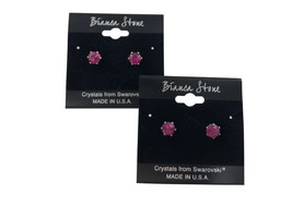 Bianca Stone October Birthstone Stud Earrings With Crystals Made By Swar... - $9.99