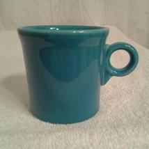 Fiesta Ware Coffee Mug O-ring handle Peacock Blue cup - $15.00