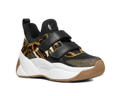 Michael Kors Women's Keeley Trainer Animal-Print Calf Hair Shoes Sneakers (5.5)