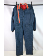Vtg 70s Blue Red Stripe Coveralls Ski Snow Suit Board Insulated Jumpsuit... - $44.54