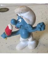 Vintage SMURFS Smurf eating ice cream mini PVC Figure toy - $5.99