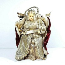 """Vintage Tree Topper Wax Face & Hands Angel Holding Banner 12"""" Germany Po... - $49.99"""