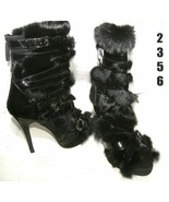Shiekh WOMEN'S FUR/PATENT STRAPED BACK ZIP BOOTIE * OPEN TOE IMPORTED (2... - $4.99