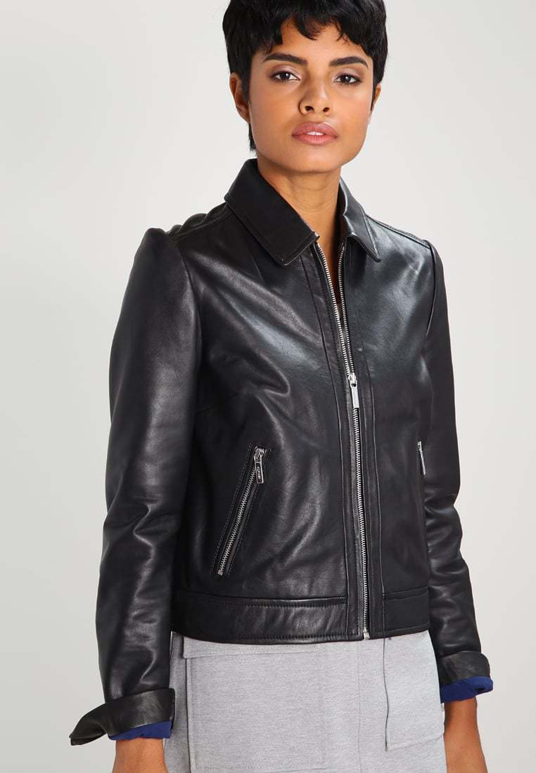 New Women's  Genuine Soft Lambskin Leather Fit Motorcycle  Biker Jacket -59