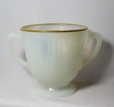American Sweetheart Sugar Bowl Monax White with Gold Trim Depression Gla... - $12.47