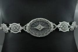 "Art Deco (ca. 1930) 10K White Gold Diamond & Etched Glass Bracelet (6 3/4"") - $440.00"