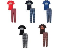 Men's NFL Medalist Pajamas 2-Piece Sleep Set Tee Shirt Pants Licensed NEW