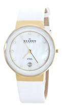 Skagen Mother of Pearl Dial White Leather Ladies Watch Item No. SKW2033 - $78.39