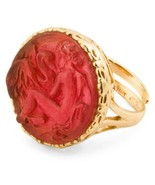 NEW AUTH TAGLIAMONTE Leda & Swan Red Venetian Glass Adjustable RING w/Bo... - $84.14