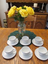 Johnson Brothers Snowhite Regency Ironstone White Swirl Cup and Saucer 7... - $30.49