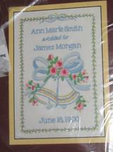 "Wedding Bells Sunset Stitchery Kit NOS 1982 Sealed Names Date 7x5"" Vintage - $14.84"