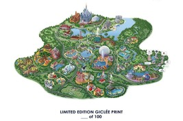 RARE POSTER thick DISNEY WORLD epcot 2017 vintage MAP REPRINT #'d/100!! ... - $18.52