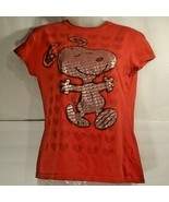 Peanuts Snoopy Red Graphic T-Shirt With Silver & Red Hearts Girls S L RN... - $17.47
