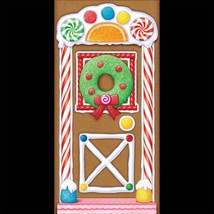 Holiday GINGERBREAD HOUSE DOOR COVER POSTER BACKDROP Christmas Candy Dec... - $7.89