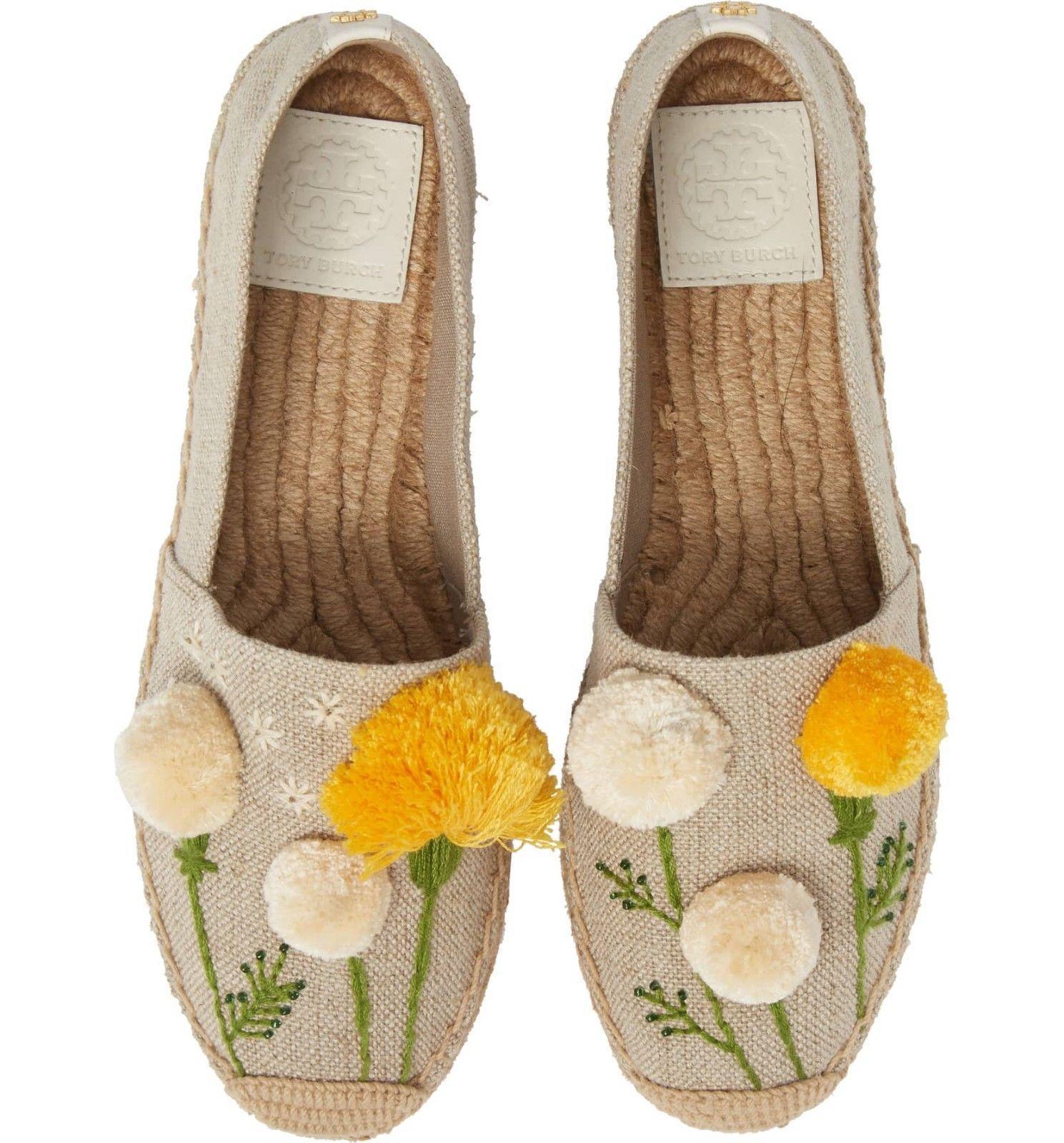 Tory Burch Natural Linen Lily Pompom Platform Espadrilles Flats Shoes 7.5