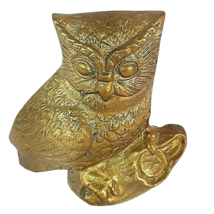 "Vtg Brass Wise Decor Owl Paperweight MCM Mid Century Figurine Art 3 1/2"" - $12.95"