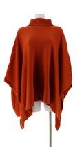 Dennis Basso Turtleneck Sweater Knit Poncho Burnt Orange XL/1X NEW A311294 - $55.42