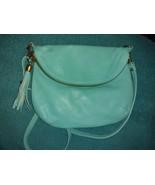 Vera Pelle Italy soft aqua teal leather crossbody bag small purse - $22.00