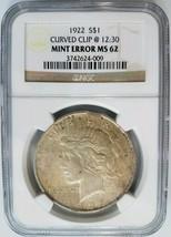 1922 Silver Peace Dollar NGC MS 62 Planchet Rim Clip Mint Error Clipped ... - $114.99