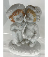 """Vintage Dating Couple Gold Trim 5"""" Tall  3.5"""" Wide Figurine - $5.89"""