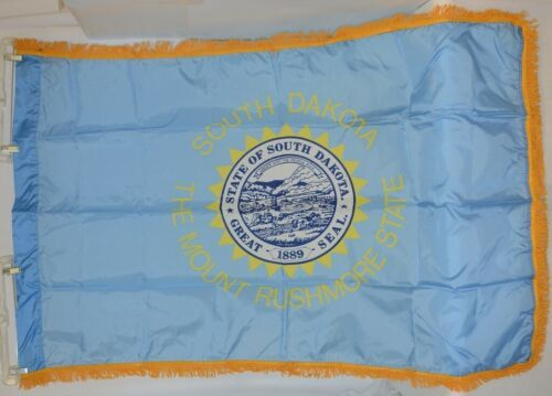 Valley Forge SDakota Flag With Pole Hem And Fringe Three By Five