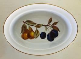 """Evesham Gold Oval Dish w/ Rim Porcelain Royal Worcester Fruit Gold Trim 9-5/8"""" - $18.24"""