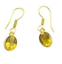 Yellow Gold Plated Fashion captivating Citrine CZ casually Earring AU gift - $11.47