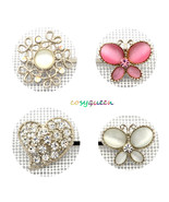 4 Pack Silver White Butterfly Floral Heart Swarovski Element Crystal Bob... - $22.00