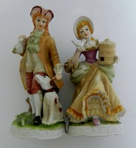 Royal Crown Victorian Man & Woman Figurines Bisque w/ Dog and Bird Vintage - $16.82