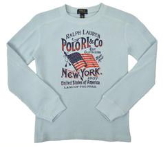 Polo Ralph Lauren Boys Light Blue Thermal Knit Long Sleeve Shirt Sz 7 94... - $25.24