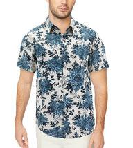 Men's Cotton Short Sleeve Casual Button Down Floral Pattern Dress Shirt image 11