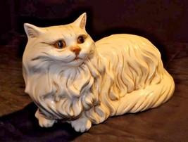 Cat StatueGlazed CeramicAA18-1292 Vintage White image 2