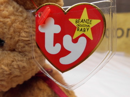 "Ty Beanie Babies Curly the Brown Bear, ""Origiinal"" and ""Suface"" mis-spellings! - $39.99"