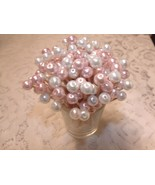 Pretty Pearl Wedding Toothpicks Pink Baby Girl Shower Party Picks Valent... - $9.99