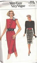 9319 UNCUT Vogue Sewing Pattern Misses Loose Fitting Straight Pullover D... - $5.59