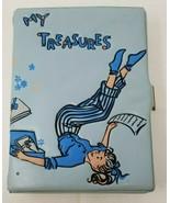 Vintage 1950s Girls My Treasures Locking Diary Box Puffy Blue My Treasur... - $19.79