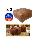 Square Leather Pouf  Moroccan Square Leather Pouf - Set Of Two - $226.00