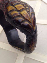 Vintage Dark Reptile Carved Snake Chunky Fashion Bangle - $30.00