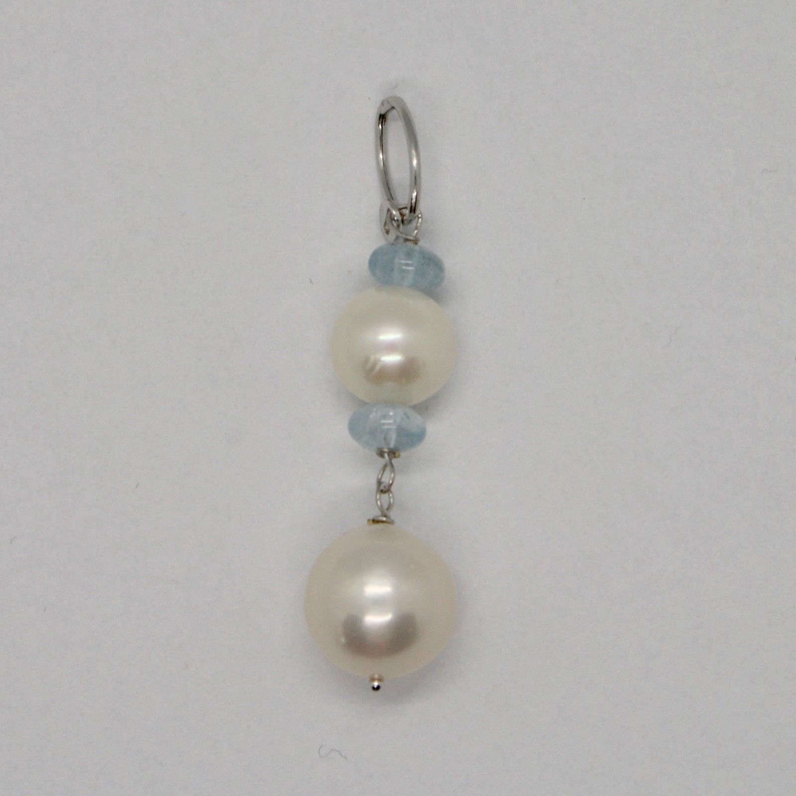 Charm 18k 750 White Gold with white pearls freshwater and Aquamarine