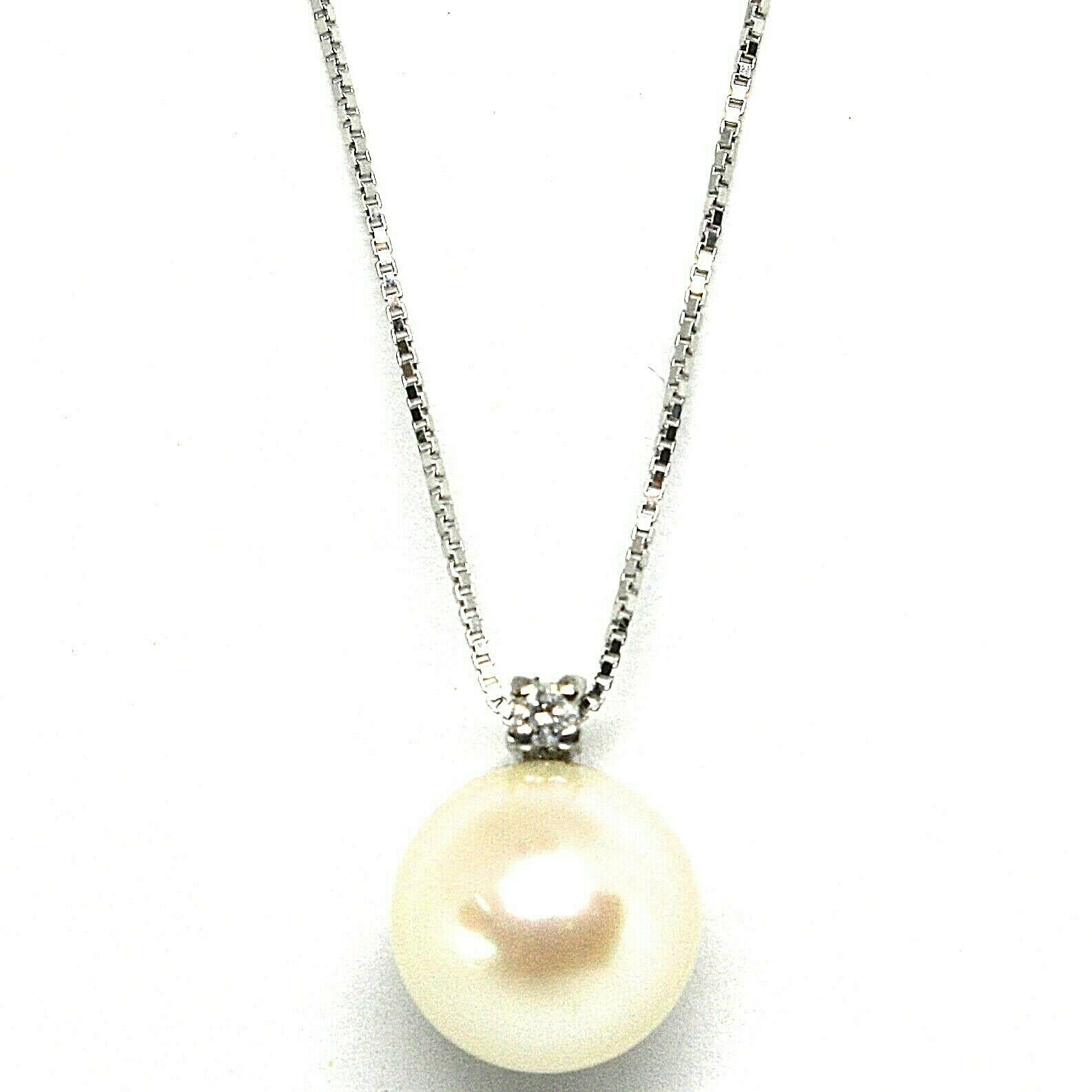 18K WHITE GOLD NECKLACE AKOYA PEARL 8.5 MM AND DIAMOND, PENDANT & VENETIAN CHAIN