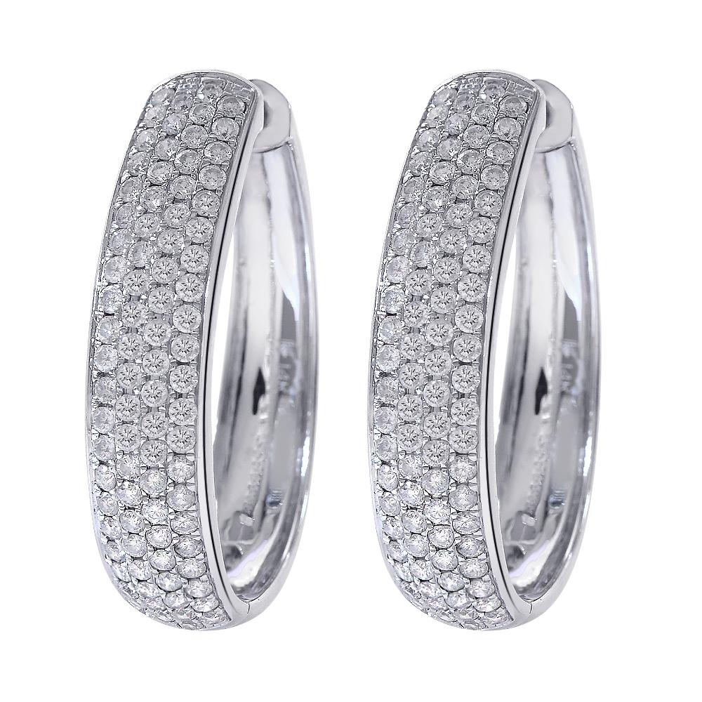 1.45 Carat Diamond Hoop Earrings 14K White Gold - $1,563.21
