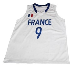 Tony Parker #9 Team France Basketball Jersey New Sewn White Any Size image 1