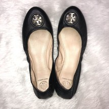 Tory Burch Addie Flats Ballet Shoes Size 8 Black Gold Logo - $169.32