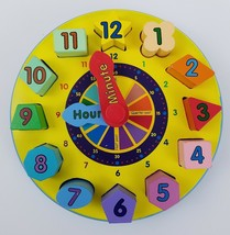 Melissa Doug Wood Sorting Clock Shapes Colors Numbers Time Educational Toy - $12.95