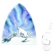 Fused Art Glass Northern Lights Polar Bear Design Nightlight Handmade Ecuador