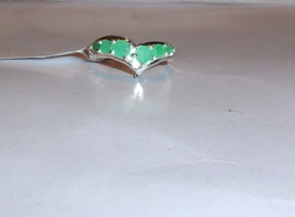 EMERALD ROUND CHEVRON BAND RING, 925 STERLING SILVER, SIZE 6, 0.84(TCW), 3GR - $59.99
