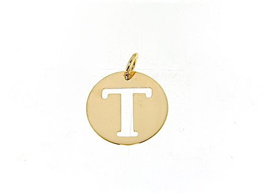 18K YELLOW GOLD LUSTER ROUND MEDAL WITH LETTER T MADE IN ITALY DIAMETER 0.5 IN