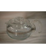 Pyrex Glass Stove Top Coffee Pot 6 Cup Carafe w Glass Lid 8446-B Flameware MCM - $54.44